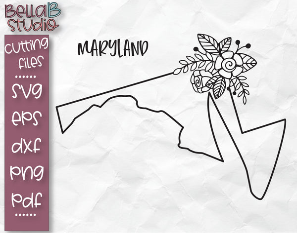 Floral Maryland Map SVG File