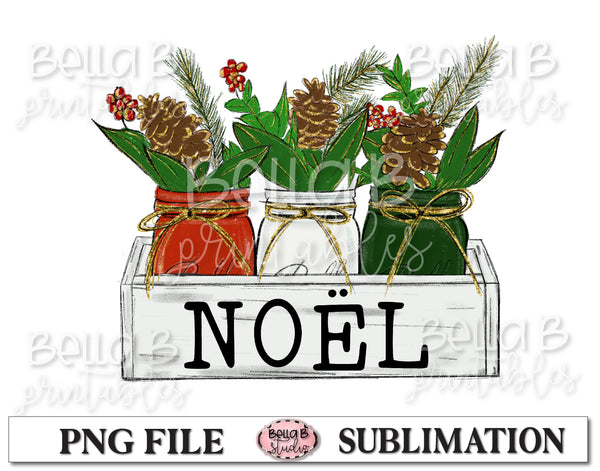 Christmas Mason Jar Sublimation Design, NOEL