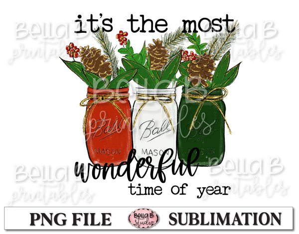 Christmas Mason Jar Sublimation Design, It's The Most Wonderful Time Of Year