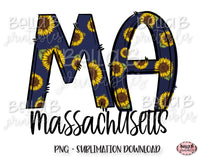 Sunflower Massachusetts State Sublimation Design