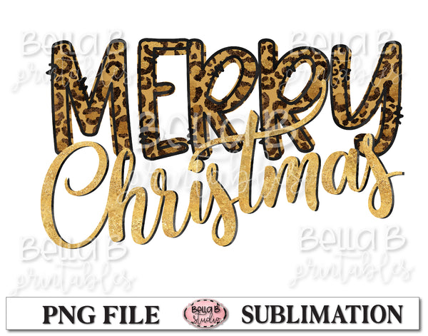 Leopard Print Merry Christmas Sublimation Design