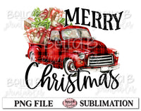 Merry Christmas Vintage Truck Sublimation Design