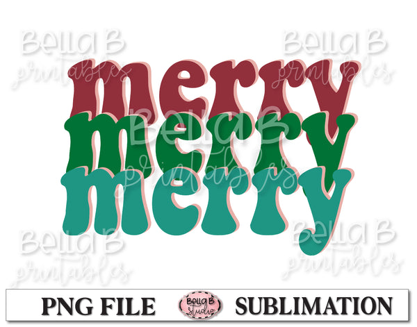 Retro Christmas Sublimation Design, Merry Merry Merry