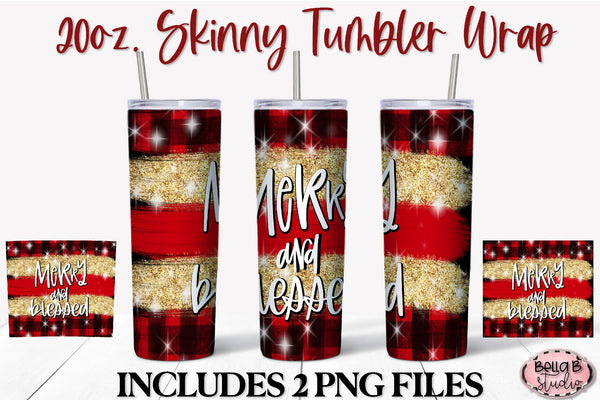 Merry And Blessed Christmas 20 oz Skinny Tumbler Design