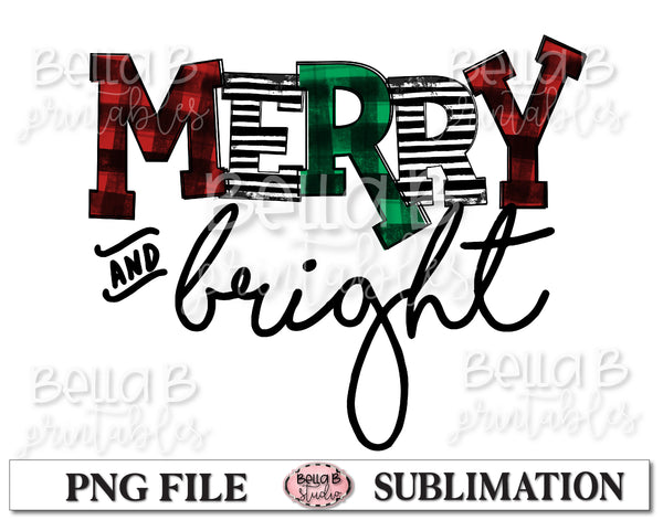 Plaid Merry and Bright Sublimation Design