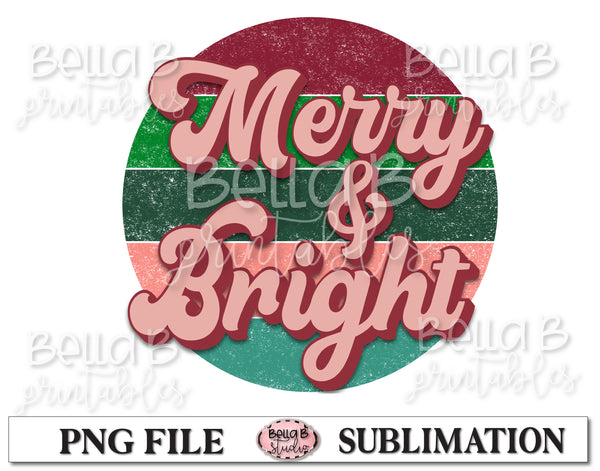 Retro Christmas Sublimation Design, Merry And Bright