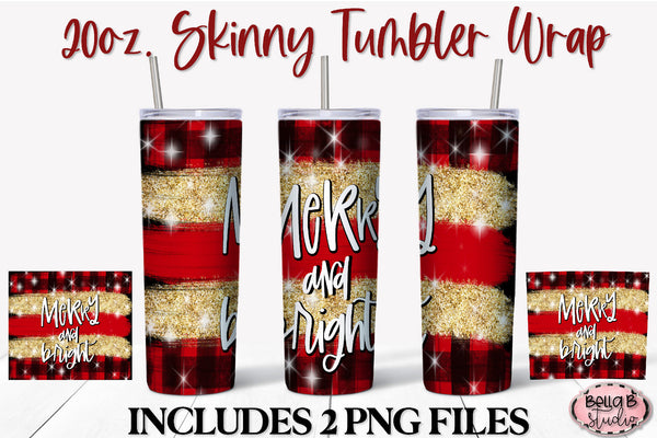 Merry And Bright Christmas 20 oz Skinny Tumbler Design