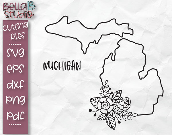Floral Michigan Map SVG File