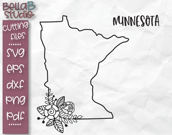 Floral Minnesota Map SVG File