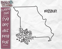 Floral Missouri Map SVG File