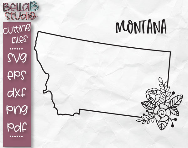 Floral Montana Map SVG File
