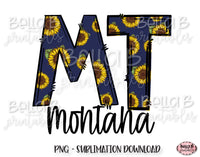 Sunflower Montana State Sublimation Design