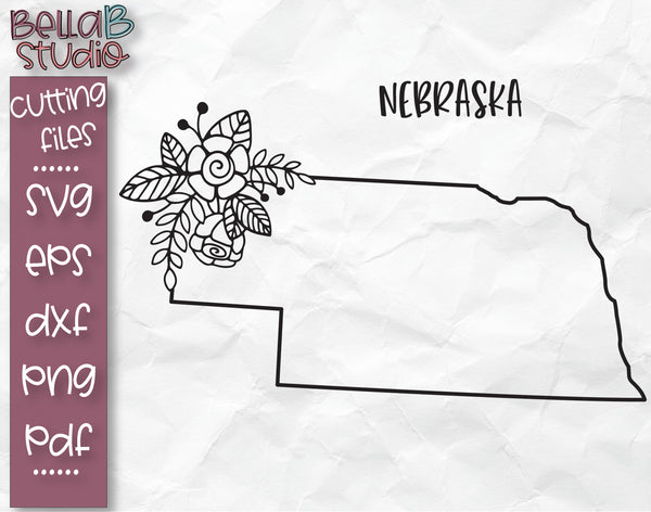 Floral Nebraska Map SVG File