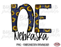 Sunflower Nebraska State Sublimation Design