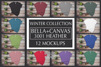 Bella Canvas 3001 Heather Mockup Bundle - Winter Collection