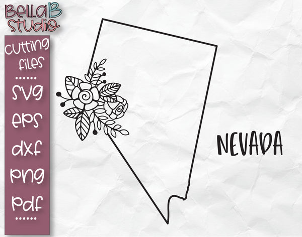 Floral Nevada Map SVG File