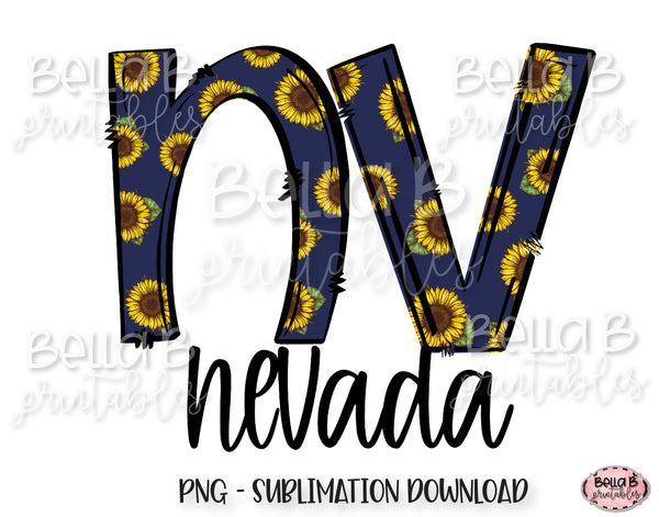 Sunflower Nevada State Sublimation Design