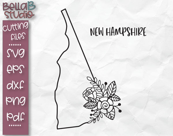 Floral New Hampshire Map SVG File