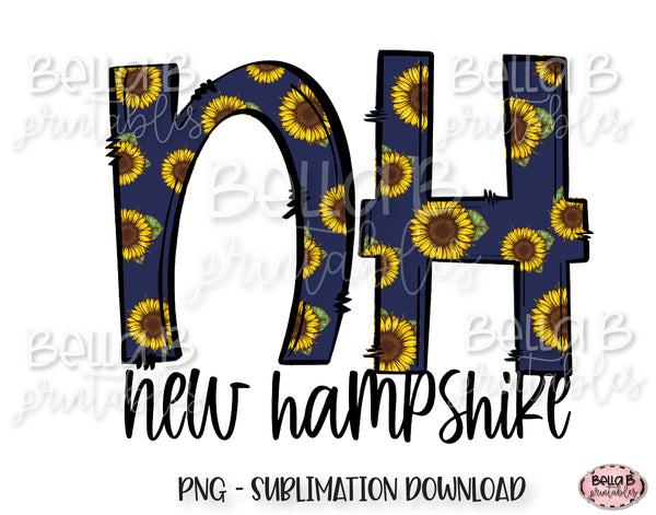 Sunflower New Hampshire State Sublimation Design