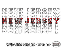 New Jersey State Sublimation Design, Mirrored State Design