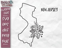 Floral New Jersey Map SVG File