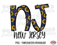 Sunflower New Jersey State Sublimation Design