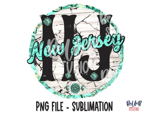 New Jersey Turquoise Sublimation Design