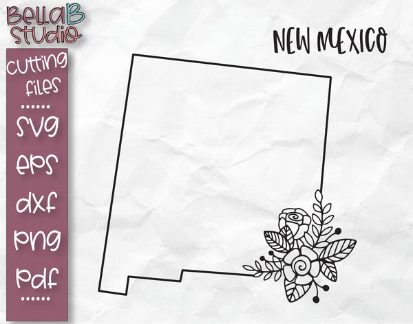 Floral New Mexico Map SVG File