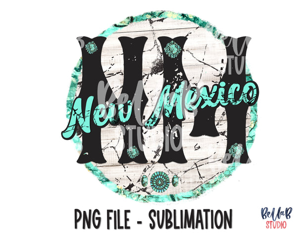 New Mexico Turquoise Sublimation Design