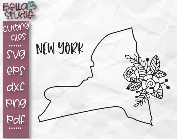 Floral New York Map SVG File