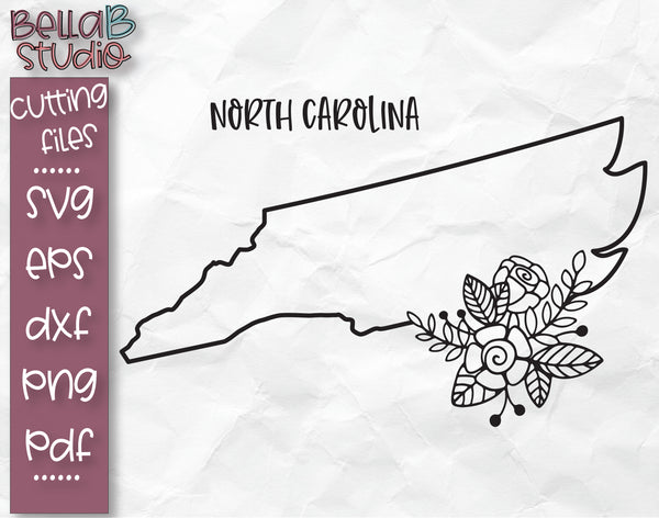 Floral North Carolina Map SVG File