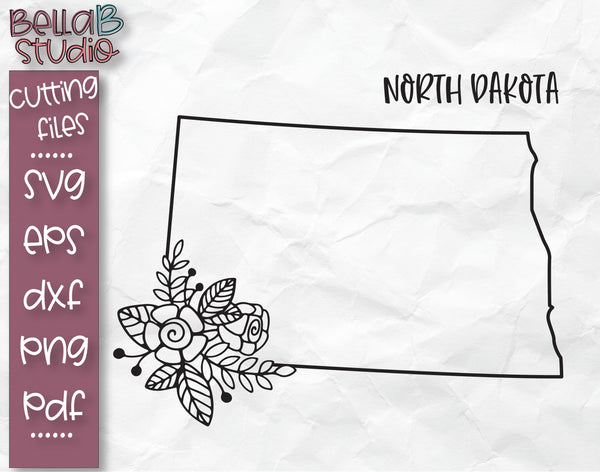Floral North Dakota Map SVG File
