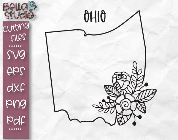 Floral Ohio Map SVG File