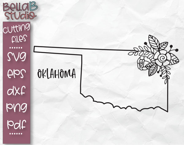 Floral Oklahoma Map SVG File