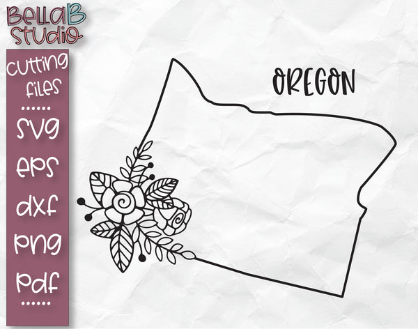 Floral Oregon Map SVG File