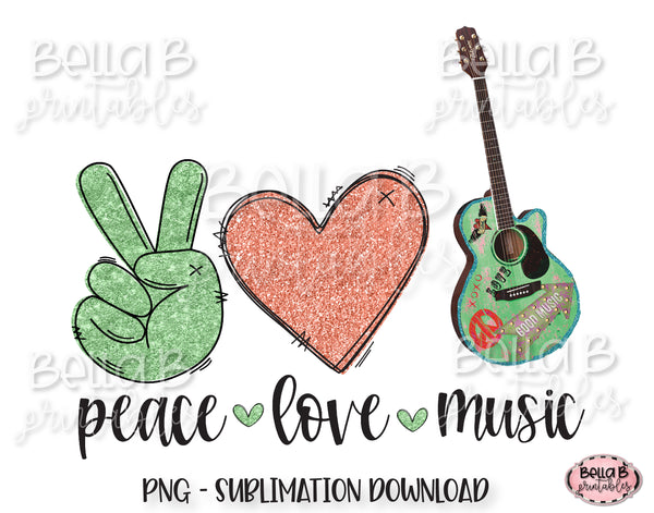 Peace Love Music Sublimation Design