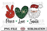 Peace Love Santa Sublimation Design