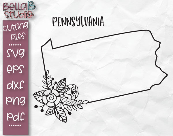 Floral Pennsylvania Map SVG File