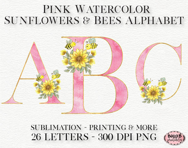 Pink Watercolor Sunflower Alphabet Set, Sublimation Alphabet