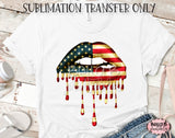 American Dripping Lips Sublimation Transfer, Ready To Press