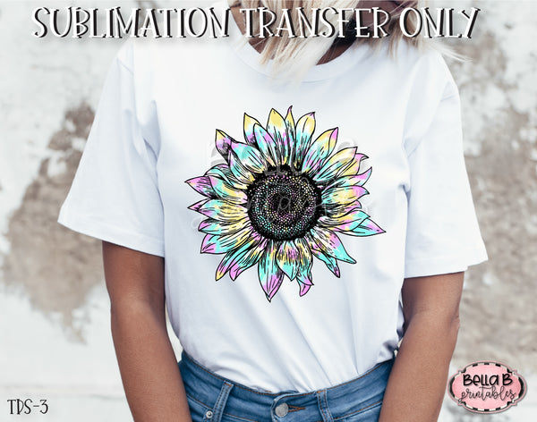 Tie Dye Sunflower Sublimation Transfer, Ready To Press, Heat Press Transfer, Sublimation Print