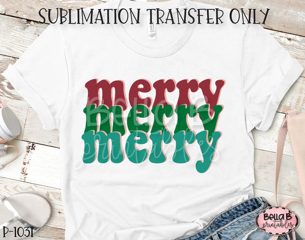 Retro Christmas - Merry Merry Merry Sublimation Transfer, Ready To Press