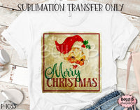 Vintage Santa - Merry Christmas Sublimation Transfer, Ready To Press