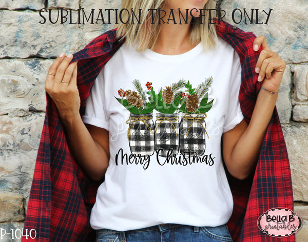 Christmas Mason Jar Plaid, Merry Christmas Sublimation Transfer, Ready To Press