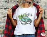 Merry Christmas Truck Sublimation Transfer, Ready To Press