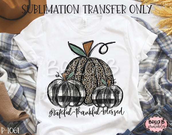 Grateful Thankful Blessed Leopard And Plaid Pumpkin Sublimation Transfer, Ready To Press