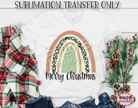 Merry Christmas Rainbow Sublimation Transfer, Ready To Press