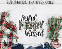 Joyful Merry Blessed Sublimation Transfer, Ready To Press