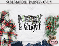 Merry and Bright Sublimation Transfer, Ready To Press