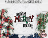 Merry Merry Merry Sublimation Transfer, Ready To Press